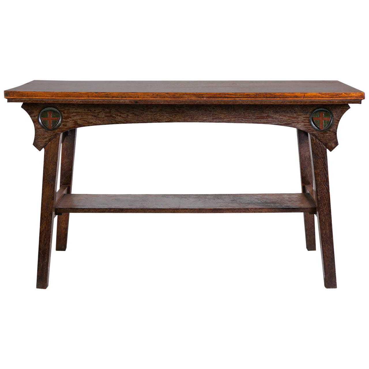 Arts and crafts english oak hand carved console table for for Arts and crafts sofa table