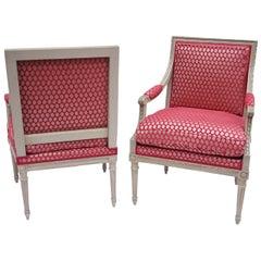 Pair of Louis XVI style à la Reine armchairs, circa 1900