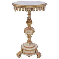 End 19th Century Small White Lacquered and Gilt Italian Gueridon