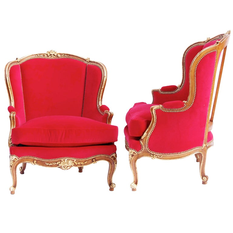Pair Of Large Louis XV style Armchairs with red velvet fabric 1