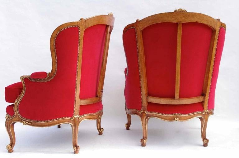 Pair Of Large Louis XV style Armchairs with red velvet fabric 5