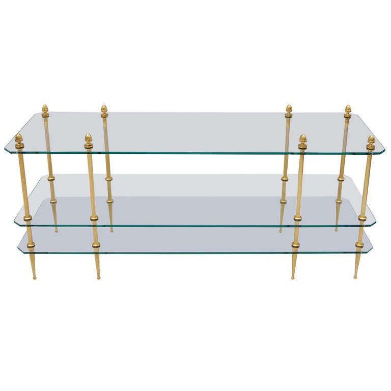 1960 Coffee Table in Gilded Brass with 3 Glass Top