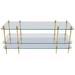 Glass and gilt brass coffee table, circa 1970
