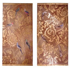 Large Pair of Paintings on Canvas with Birds and Foliage