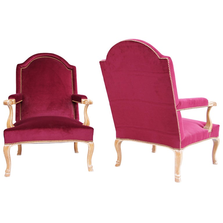 Pair Of Louis XV Style Armchairs with purple velvet fabric, 1970