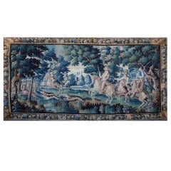 Very large 18th Century  hunt scene Aubusson Tapestry