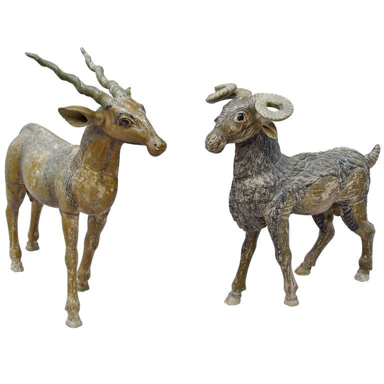 19th Century Animals in Painted Wood