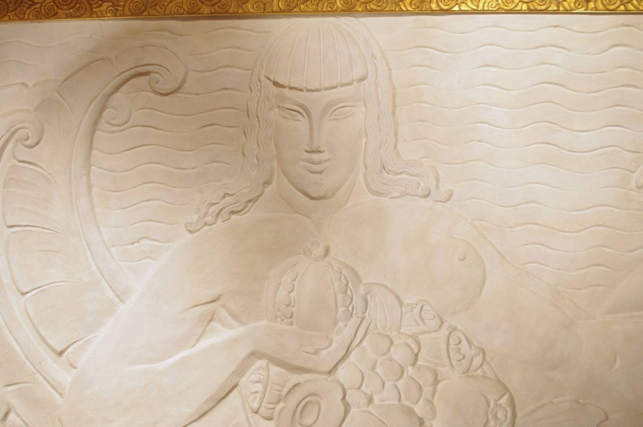 Large Art Deco Period Bas Relief In Stucco Circa 1940 For Sale At