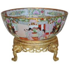 Canton Porcelain Punch Bowl Standing on Chiseled Gilt, circa 1880