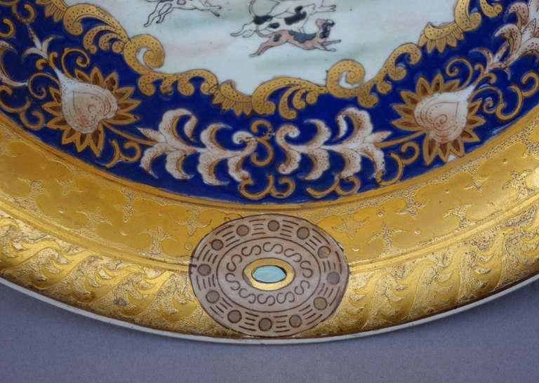 French 19th Century Samson Porcelain Hunting Scene Plate/Bowl For Sale