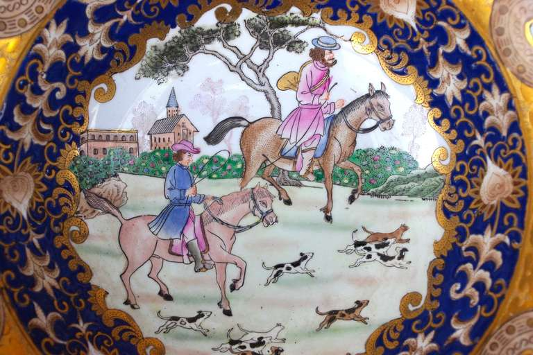 19th Century Samson Porcelain Hunting Scene Plate/Bowl In Excellent Condition For Sale In Saint-Ouen, FR