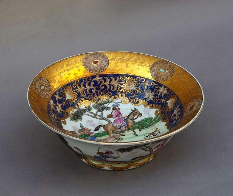 20th Century 19th Century Samson Porcelain Hunting Scene Plate/Bowl For Sale