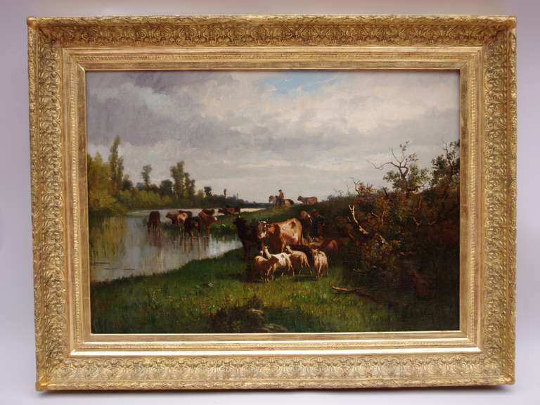 Oil on canvas representing a pastoral scene, with farmers herding cattles on a river bank under a cloudy sky.  Signed A. Cortes in the bottom right corner.  Antonio Cortes (1827-1908) was a Spanish painter at the Royal Court of Madrid. In France for