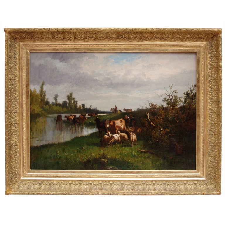 "Large oil on canvas pastoral scene, ""Cows in the field"" by Antonio Cortes"