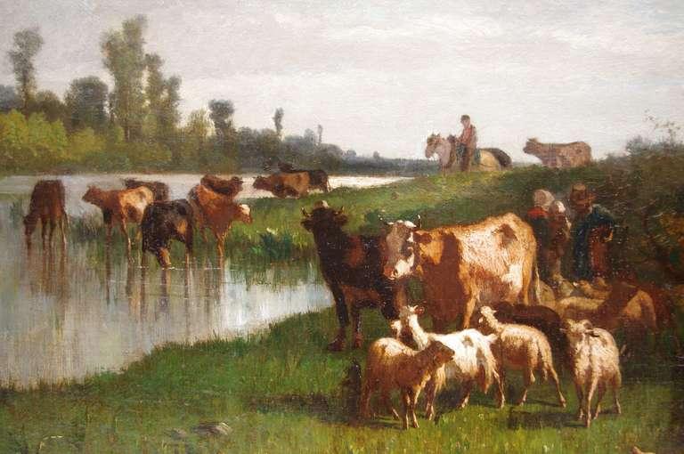 Antonio Cortes, Pastoral scene, oil on canvas, 19th century In Good Condition For Sale In Saint-Ouen, FR