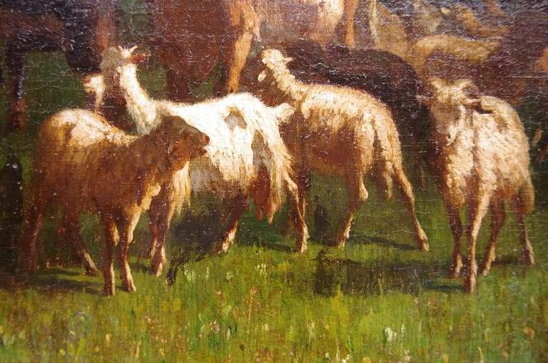 Canvas Antonio Cortes, Pastoral scene, oil on canvas, 19th century For Sale