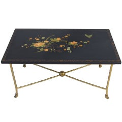Jansen Table With Black Lacquered Table From The 50's