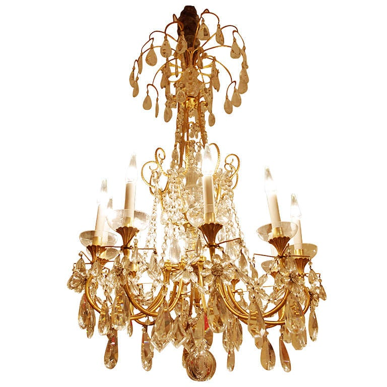 Gilded Bronze And Crystal Directoire Style Chandelier