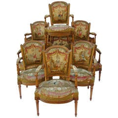 7 pieces 19th c. Louis XVI period Aubusson tapestry living room set