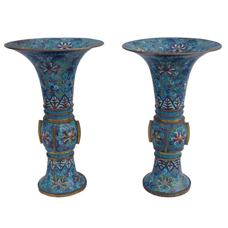 18th Century Pair Of Chinese Cloisonne Enamel Trumpet