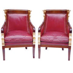 Pair of Empire Style Bergères in Mahogany with Red Leather