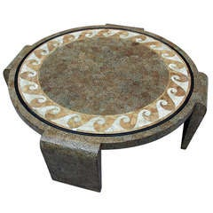 Large Art Deco Round Coffee Table In Eggshell