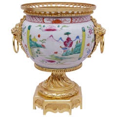 18th Century Canton Porcelain Cup Mounted in Gilt Bronze, 19th Century