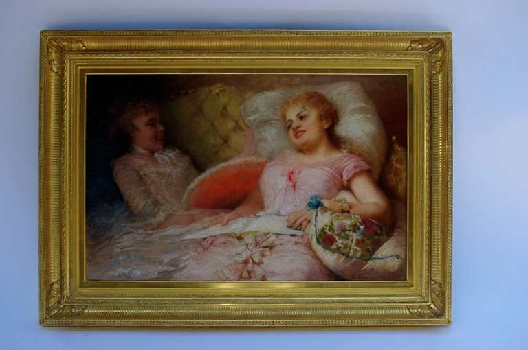 """Spanish Zurbo, """" The Reading"""", Oil on canvas, late 19th century For Sale"""
