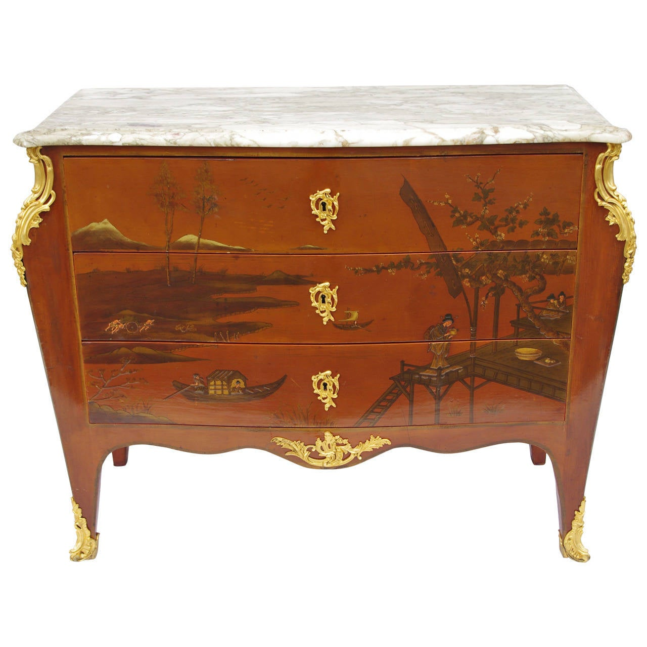 Transition Style Commode with Chinese Lacquer, circa 1950 For Sale