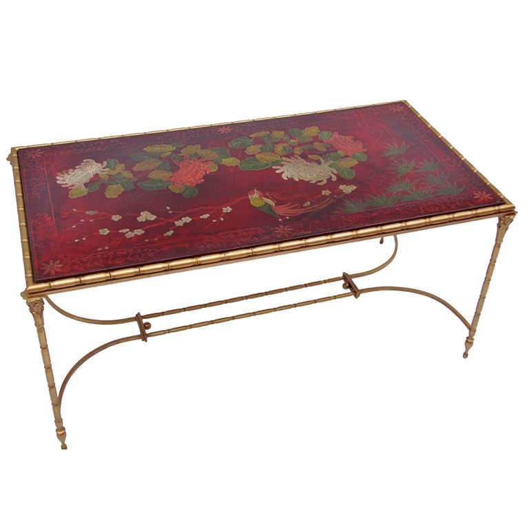 1950 Red Lacquered Coffee Table At 1stdibs