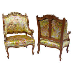 Unusual Pair of 19th Century Louis XV Style Bergeres