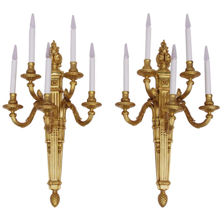 19th Century Very Large Louis XVI Style Pair of Sconces at 1stdibs