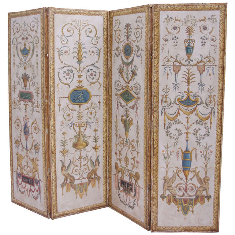 Circa 1900 directoire style painted screen divider with for Painted screens room dividers