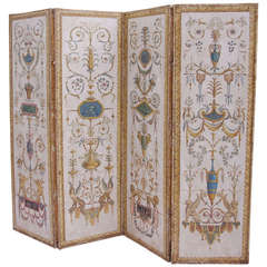 Circa 1900 Directoire style Painted Screen Divider with grotesque painted