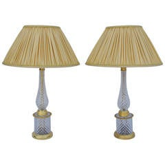 Pair of crystal and gilt bronze lamps, circa 1950