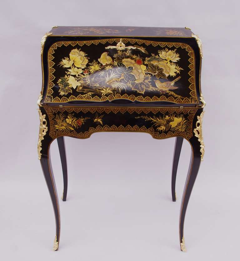 French Small And Elegant Louis Xv Style Secretary Desk In Chinese Lacquer For