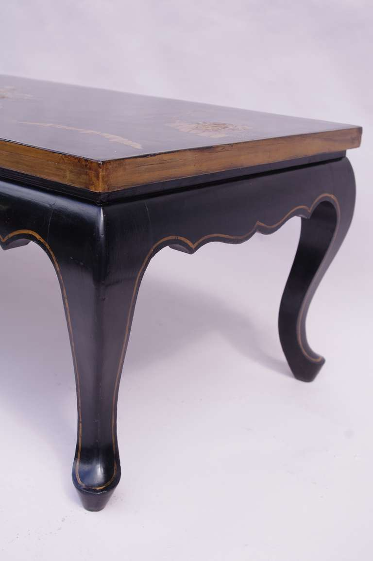 Very Long Lacquered Coffee Table With Asian Decor Circa