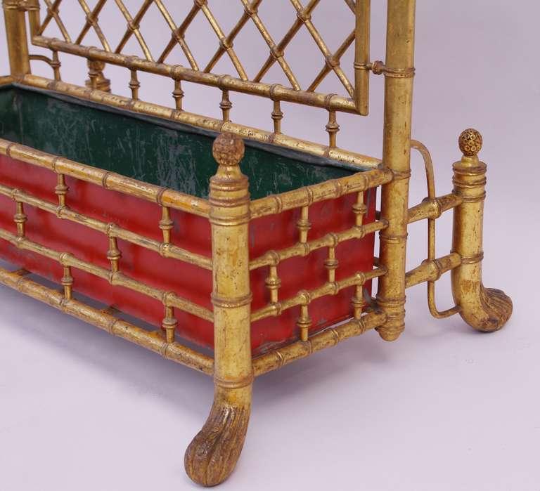 19th c gilt wood bambou imitation planter with trellis. Black Bedroom Furniture Sets. Home Design Ideas
