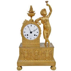1810 Empire Small Clock In Gilded Bronze