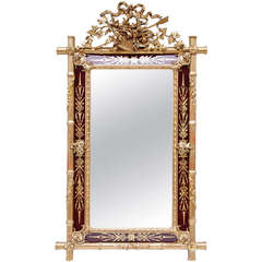 Gilt Wood Mirror Bamboo Style with Engraved Red Glass