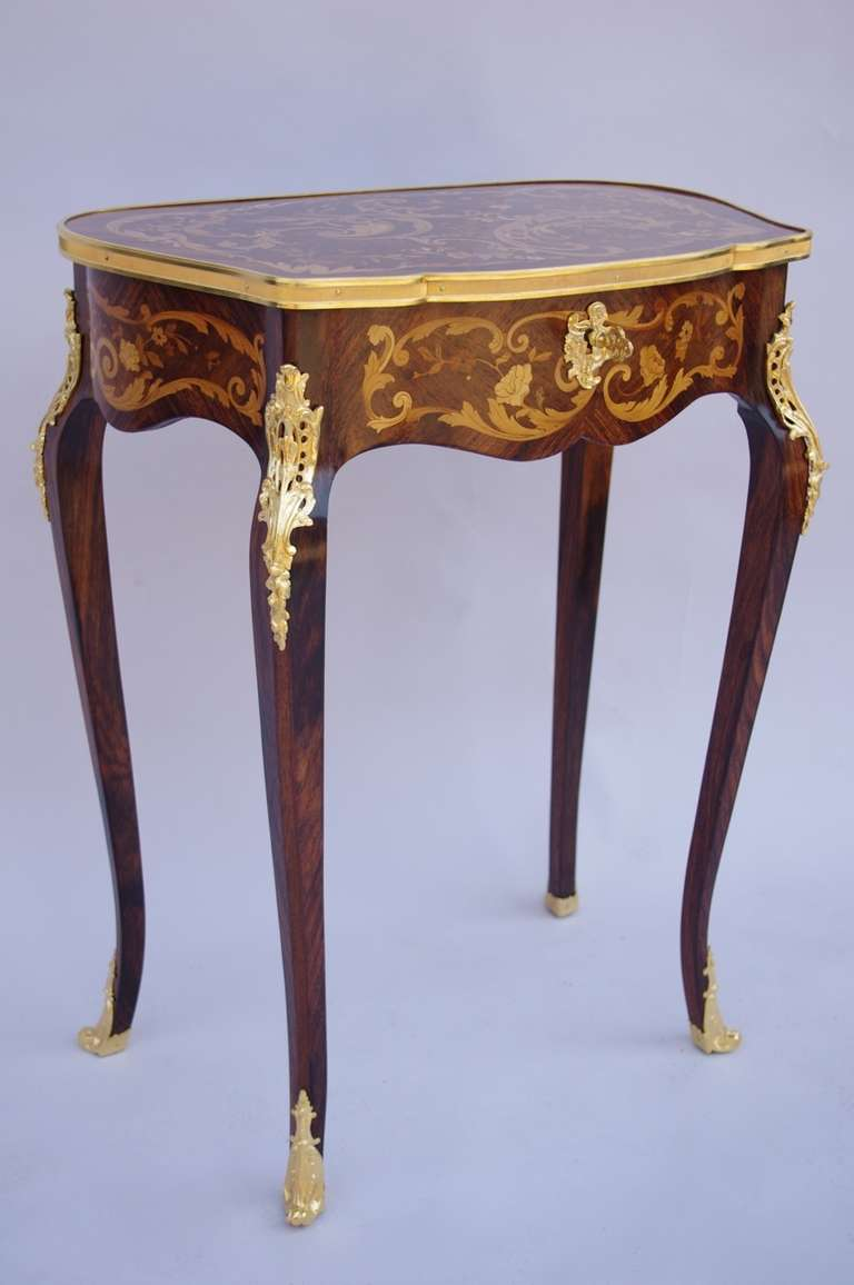 Small Louis Xv Style Vanity Table In Marquetry And Gilt