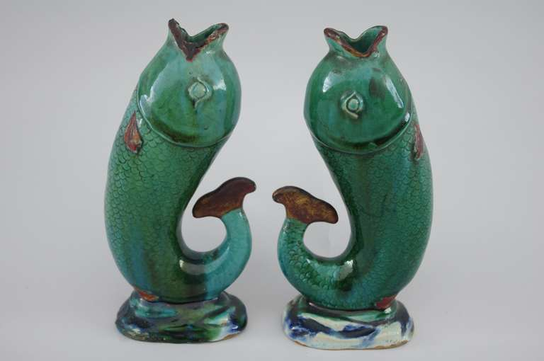 Work from 1920s. Soliflore vases. Terra cotta and stoneware enameled.