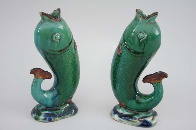 Mid-Century Modern Pair of Fishes, Stoneware and Terra Cotta Enameled Soliflore Vases, circa 1920 For Sale