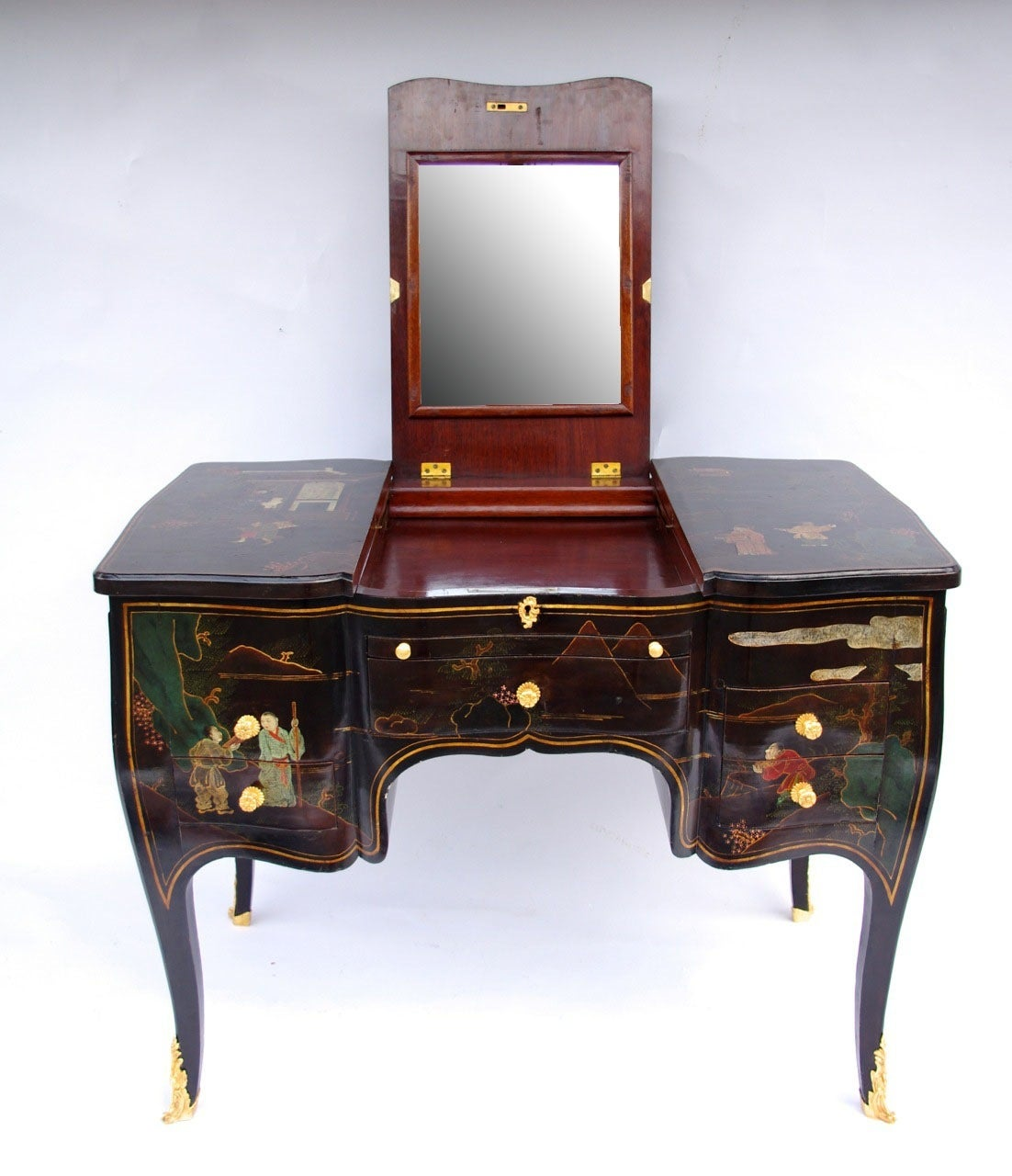 Louis XV Style Chinese Black Lacquer Dressing Table, Circa 1900 3