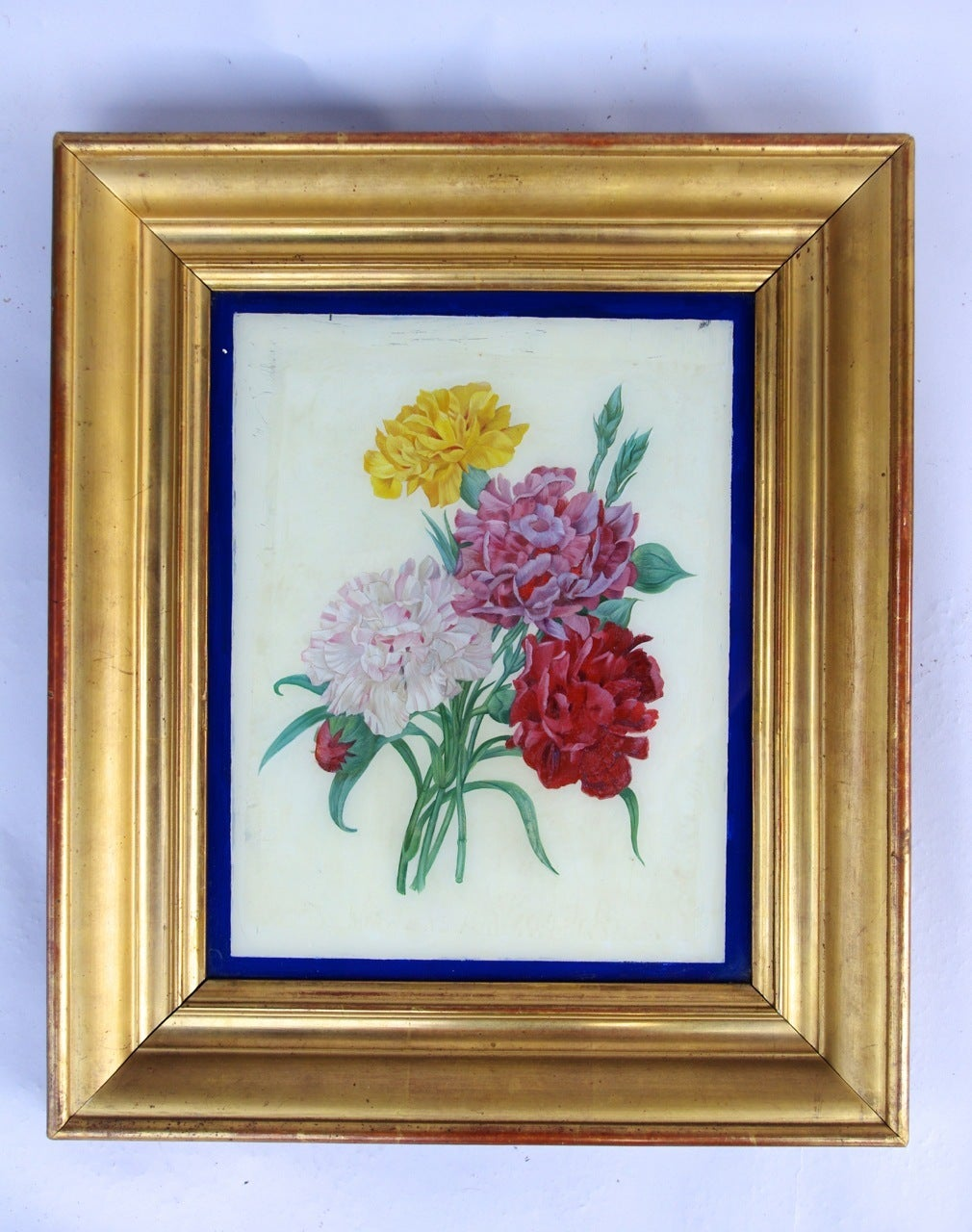 Late 19th Century Pair of Restauration style reverse glass paintings, late 19th century For Sale