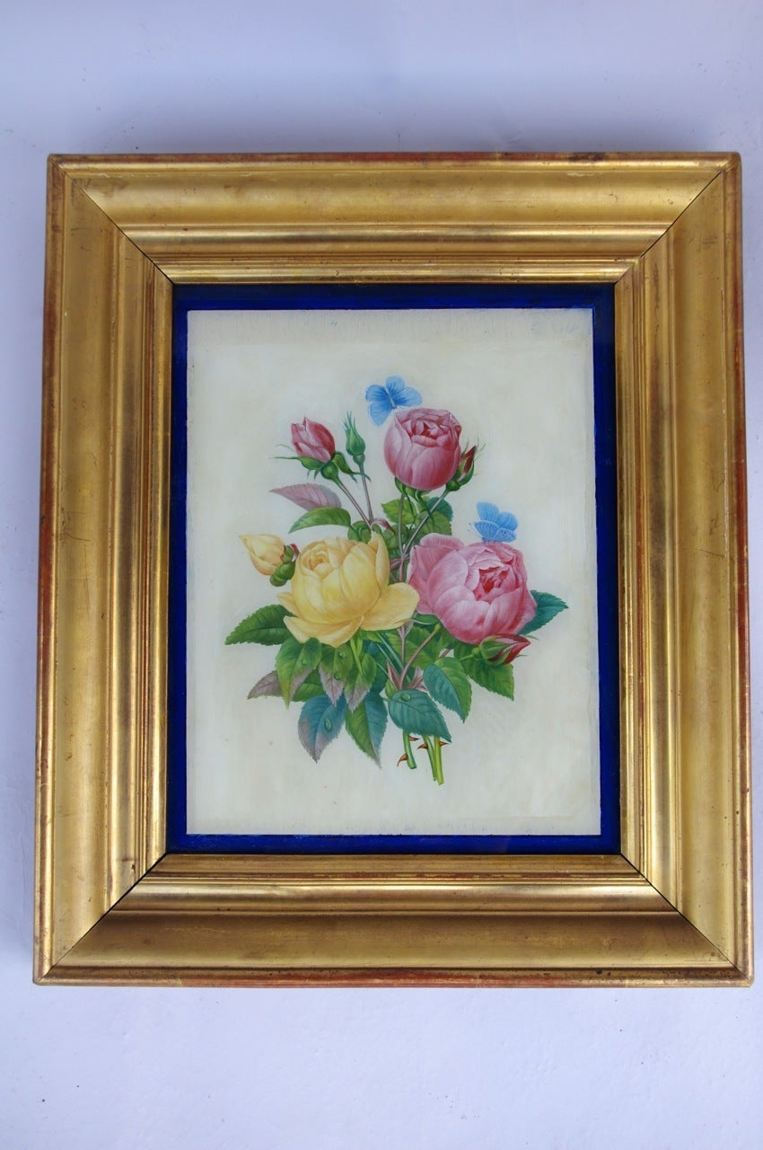 Pair of Restauration style reverse glass paintings, late 19th century In Good Condition For Sale In Saint-Ouen, FR