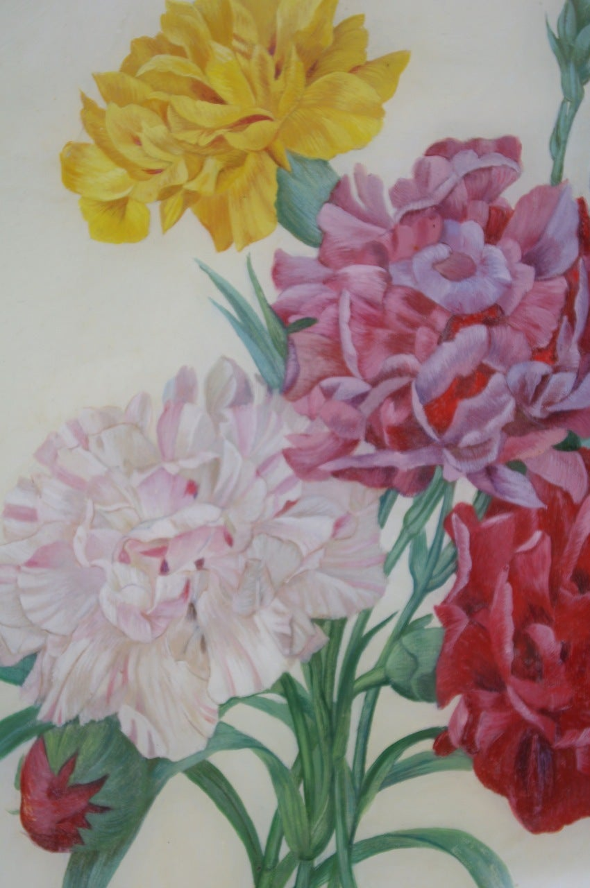 Pair of French Restauration style rectangular reverse glass paintings representing baskets of flowers on a white background, one of peonies one of roses. The whole ensemble has a first blue edge then is framed with a gilt molded wood frame.Work