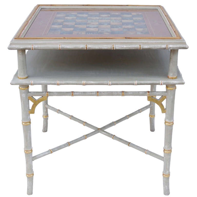 1950 unusual table with watercolor chessboard painted top for Unusual table tops