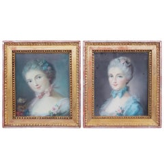Pair Of 18th Century Style Woman Portraits Pastel