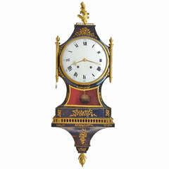 18th Century Black Lacquered Clock Cartel with Console from Louis XV Period